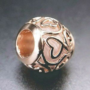 Authentic Pandora Rose Gold Charm Bead Hearts